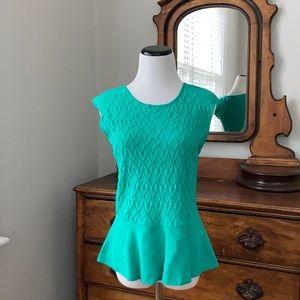 Eva Mendes Green Knit Peplum Too, Size L